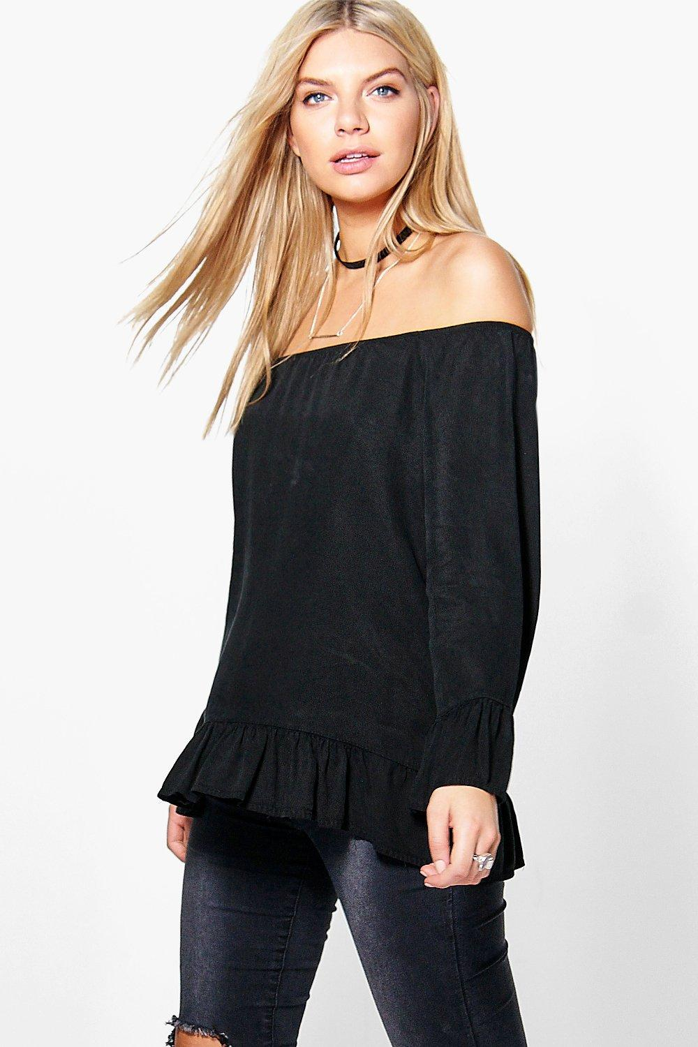 Lois Black Denim Off The Shoulder Top
