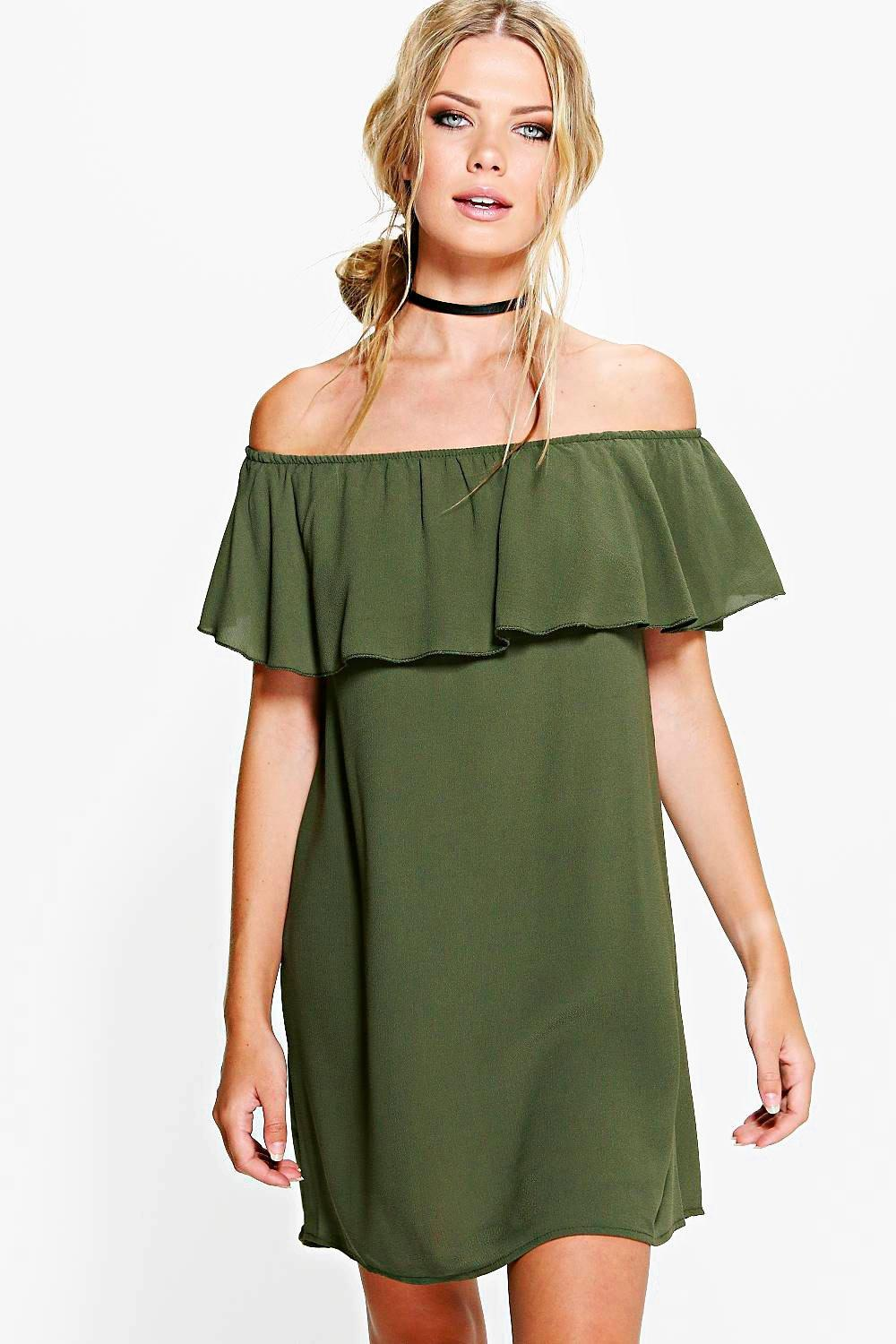Sophie Ruffle off Shoulder Swing Dress