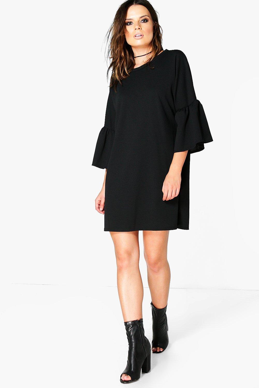 boohoo Bell Sleeve Dress - black