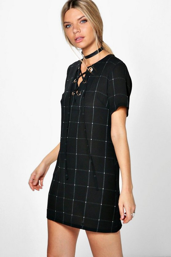 Cassie Checked Lace Up Eyelet Shift Dress