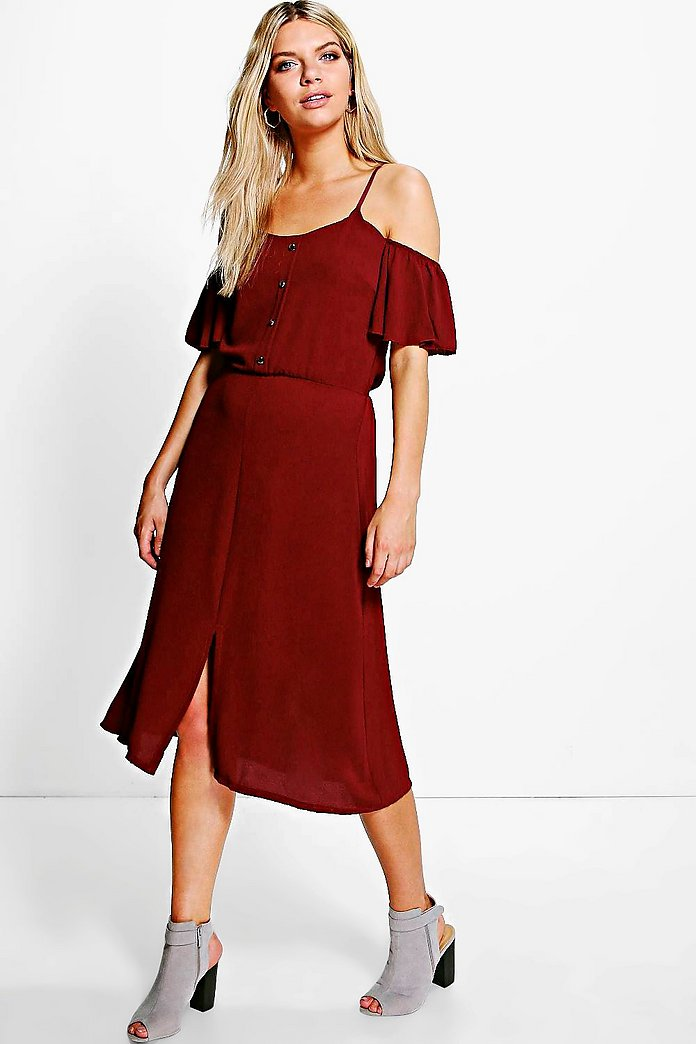 Naomi Woven Cold Shoulder Midi Dress