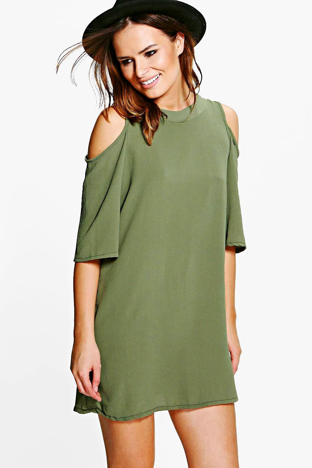 Emily Woven Cold Shoulder Skater Dress