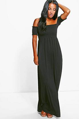 Sally Shirred Bardot Maxi Dress