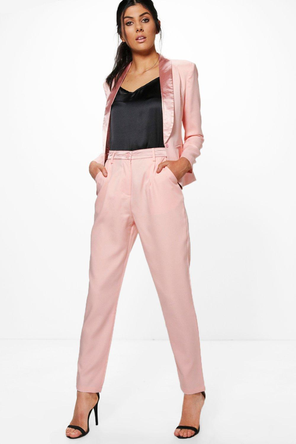 Tailored Tuxedo Waistband Trousers  rose