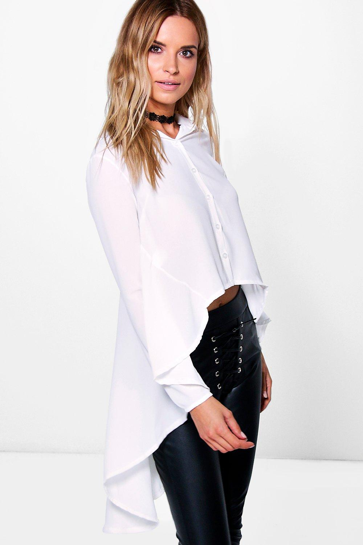Woven Peplum Back Shirt white