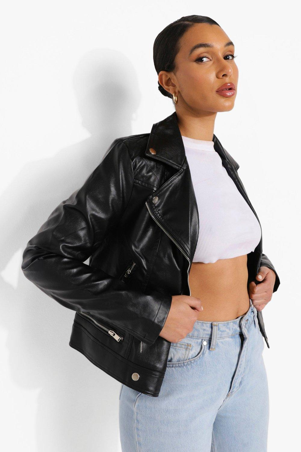 Faux Leather Biker Jacket With Quilt Detail