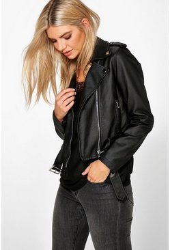 Alisha Faux Leather Biker Jacket With Belt