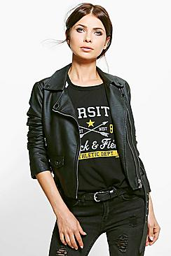 Keira Faux Leather Biker Jacket With Belt