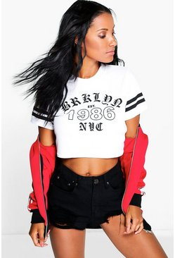 Sally Ribbed Crop Slogan Baseball T-Shirt