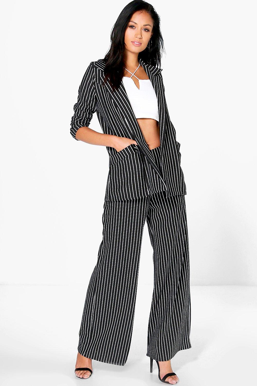 Pinstripe Wide Leg Trousers black