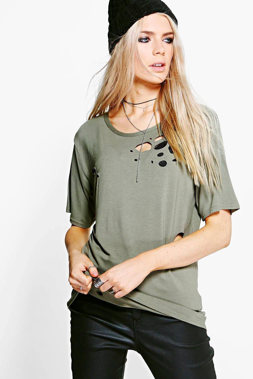 boohoo Distressed T-Shirt - khaki
