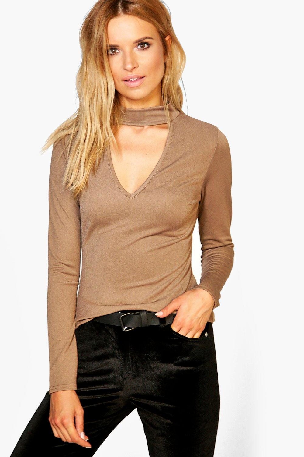 Amy Elsa Long Sleeve Choker Top