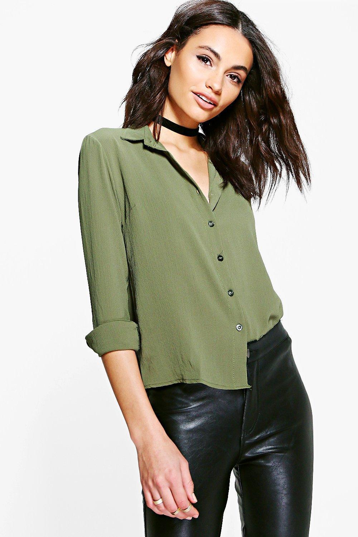 boohoo Woven Shirt - khaki