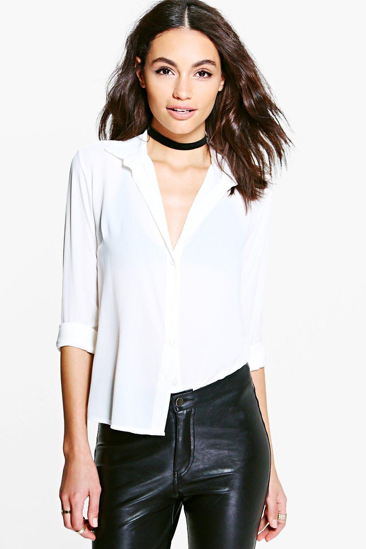 Womens Hemd aus Webmaterial - Weiß - L, Weiß - Boohoo.com