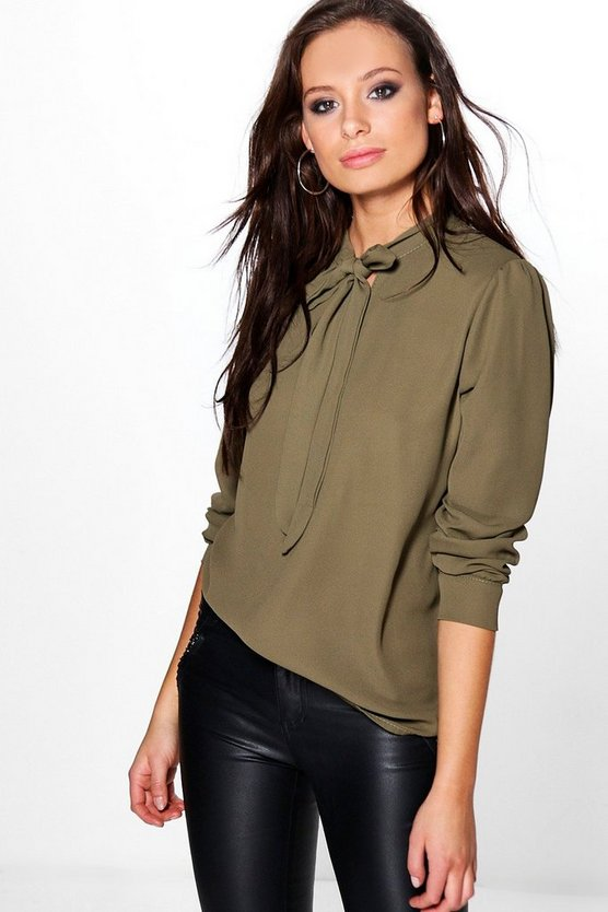 Cara Tie Neck Long Sleeve Blouse