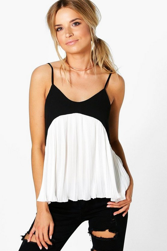 Poppy Mono Pleated Hem Woven Cami