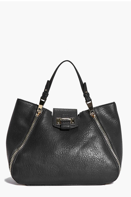 Metal Zip Detail Day Bag black