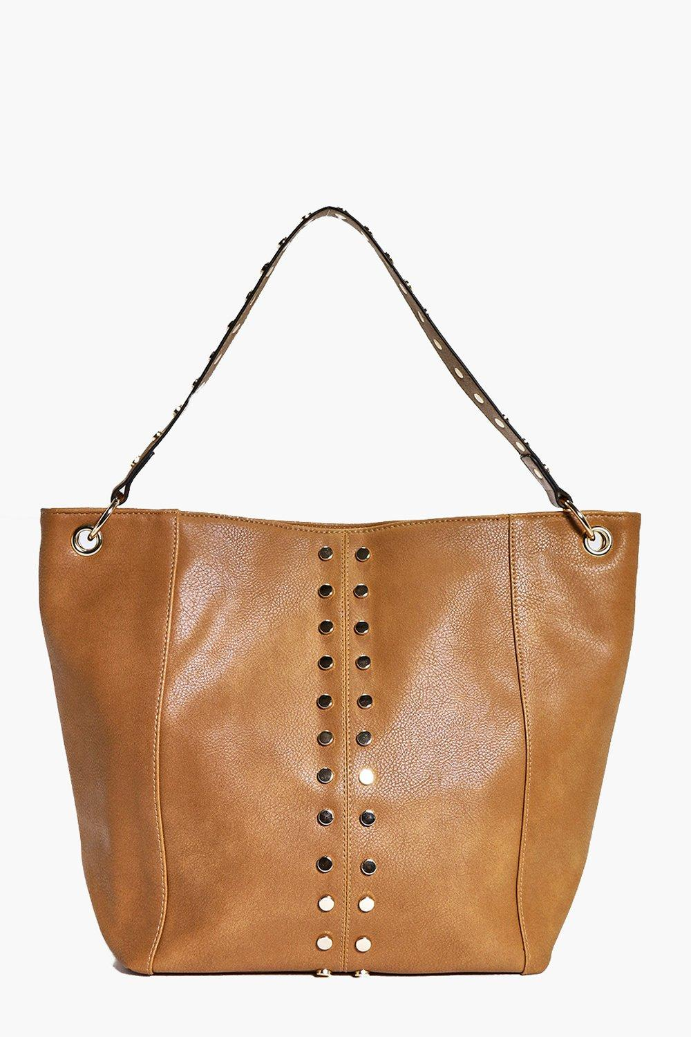 Stud Detail Shopper Bag - tan - A bag will make su