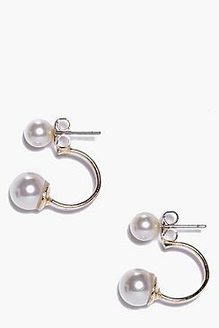 Jeannie Double Faux Pearl Stud Earrings
