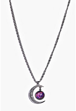 Ava Galactic Moon Pendant Necklace