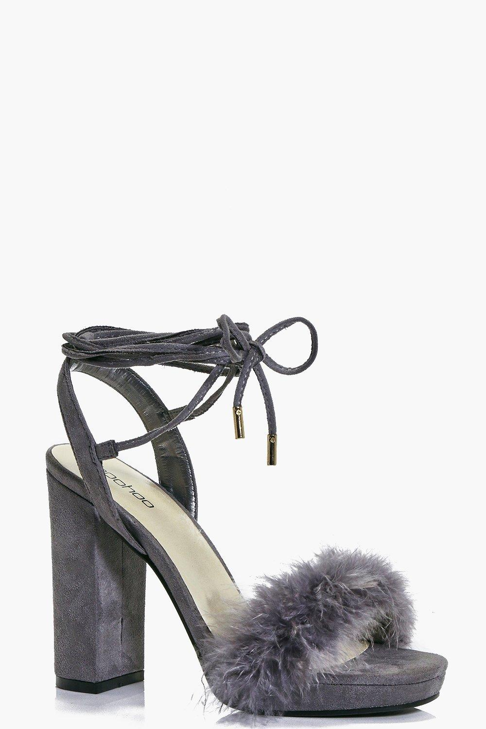 Ivy Feather Trim Wrap Strap Platform Heel