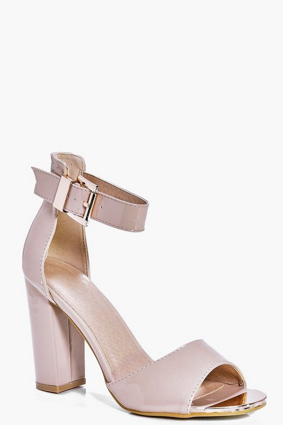 Rose Metallic Plaque Two Part Block Heel