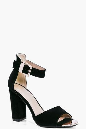 Lara Metallic Plaque Two Part Block Heels