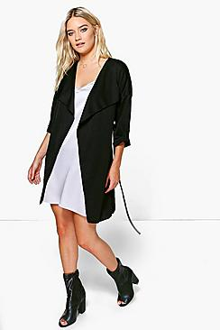 Lexi Waterfall Ruched Back Belted Duster