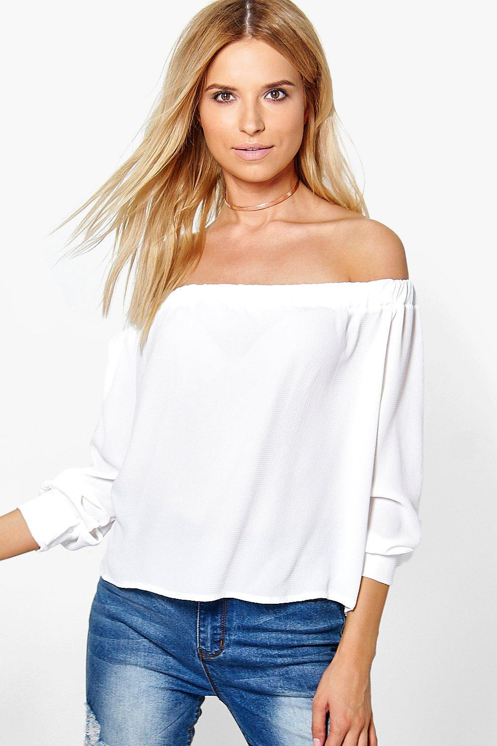 Rosie Woven Off The Shoulder Cuffed Top