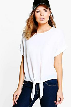 Harriet Woven Oversized Tie Front Top