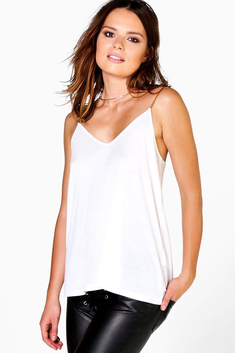 Chain Strap Cami cream