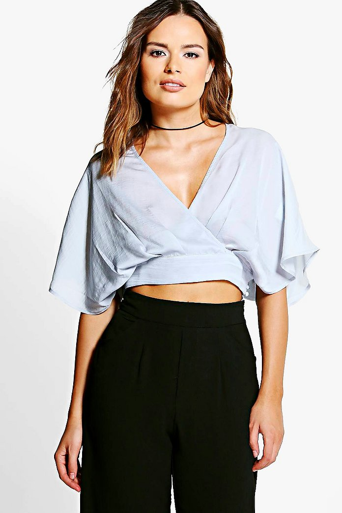 Mia Satin Wrap Over Button Through Crop