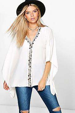 Patrice Coin Trim Poncho Top