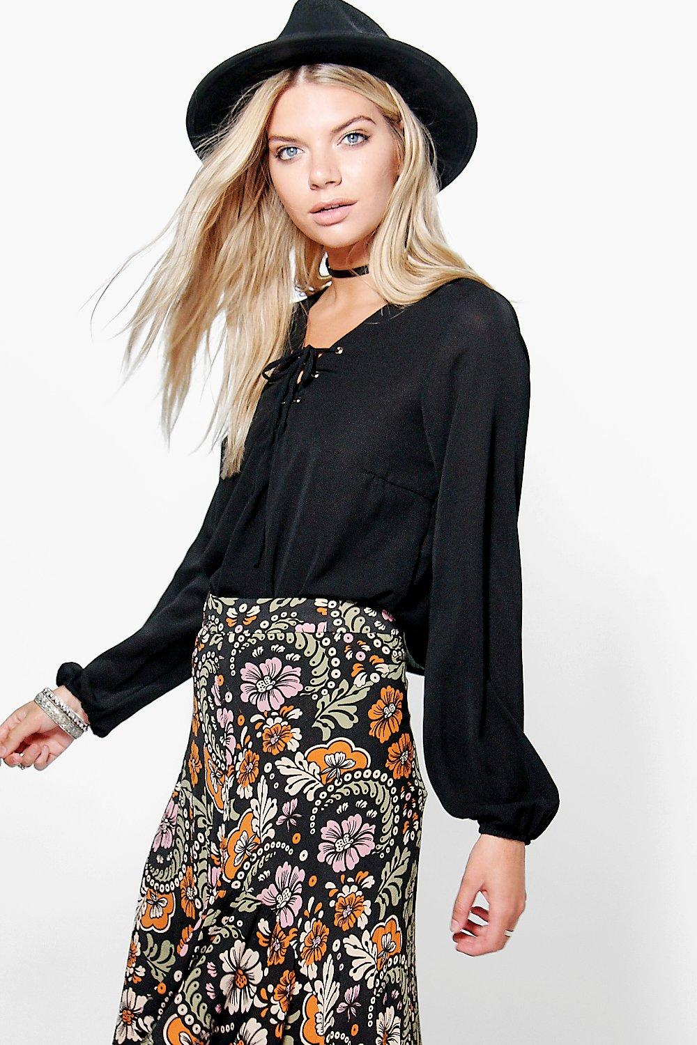 Lace Up Sleeve Crop Blouse black