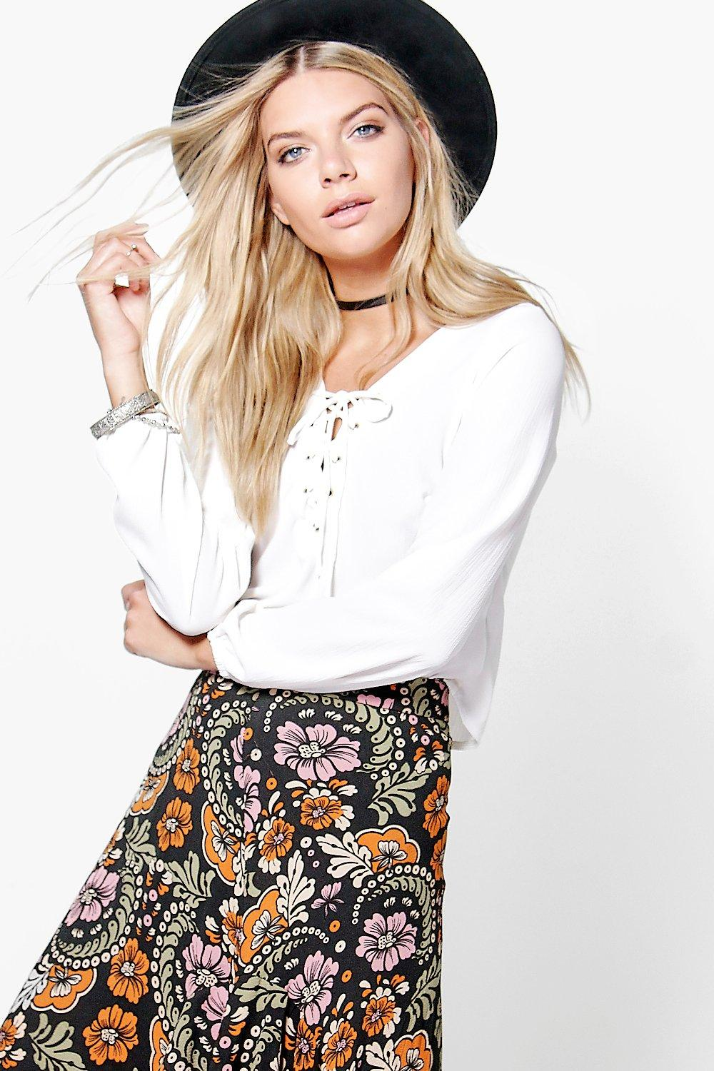 Lace Up Sleeve Crop Blouse ivory