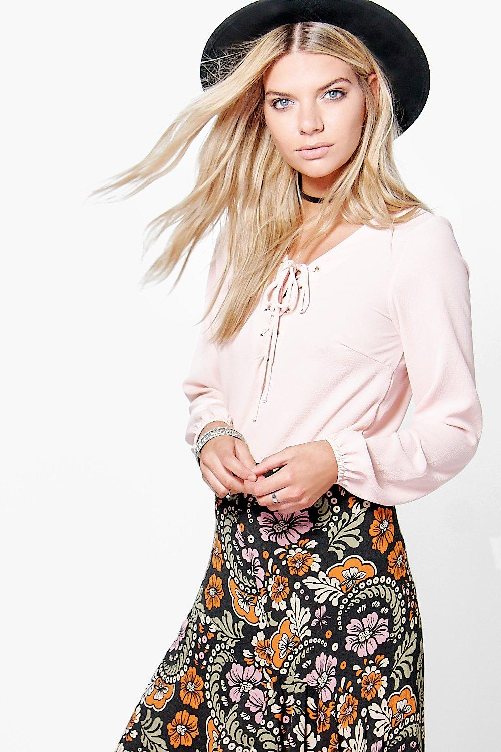 Lace Up Sleeve Crop Blouse nude