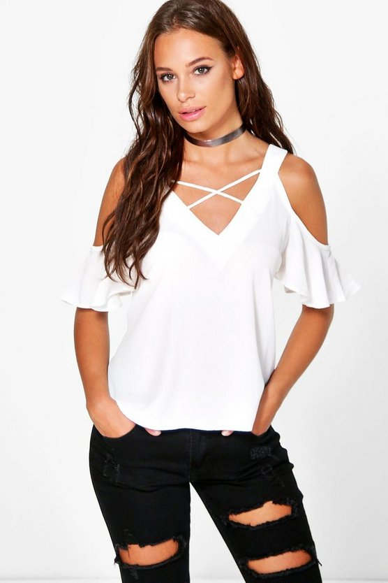 Sasha Cold Shoulder V Neck Woven Top
