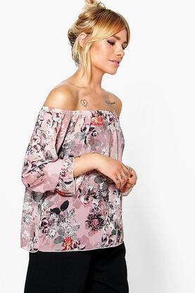 Nicky Woven Printed Off The Shoulder Top