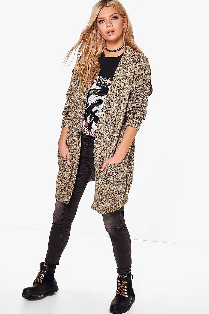 Lucy Marl Boucle Checkerboard Knit Cardigan
