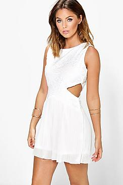 boohoo female jenny boutique lace cut out pleated playsuit