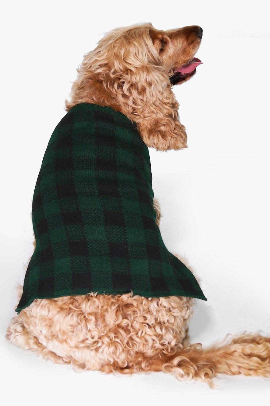 Tartan Dog Christmas Jumper  green