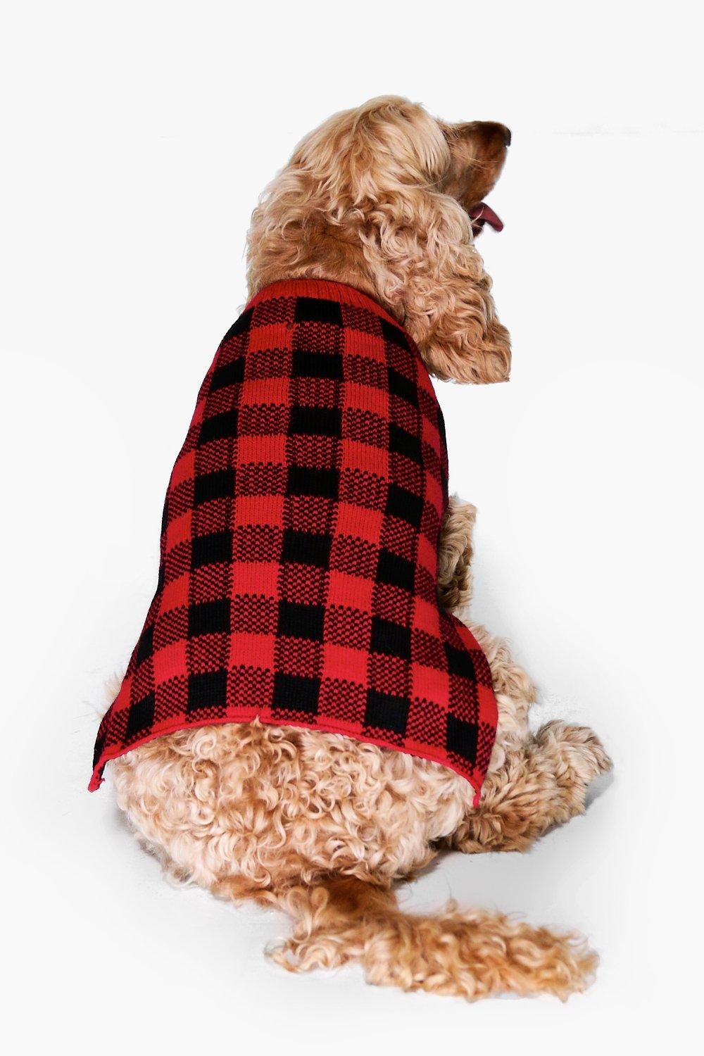 Product photo of Tartan dog christmas jumper red