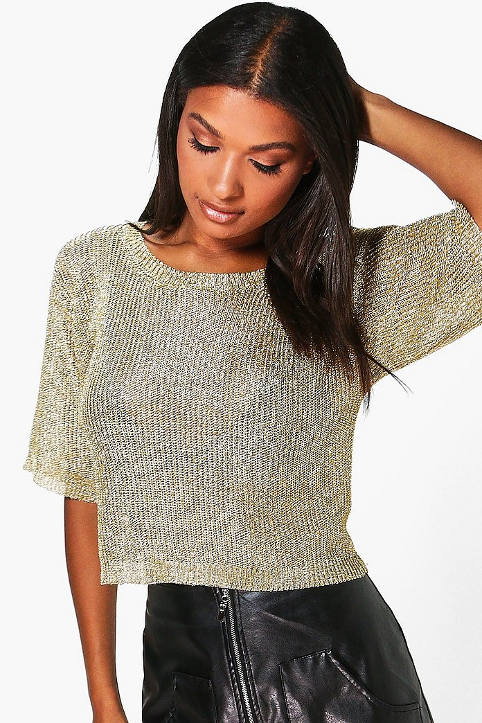 Charlotte Short Sleeve Metallic Knit Top