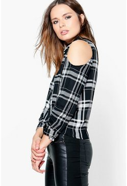 Hailey Cold Shoulder Checked Shirt