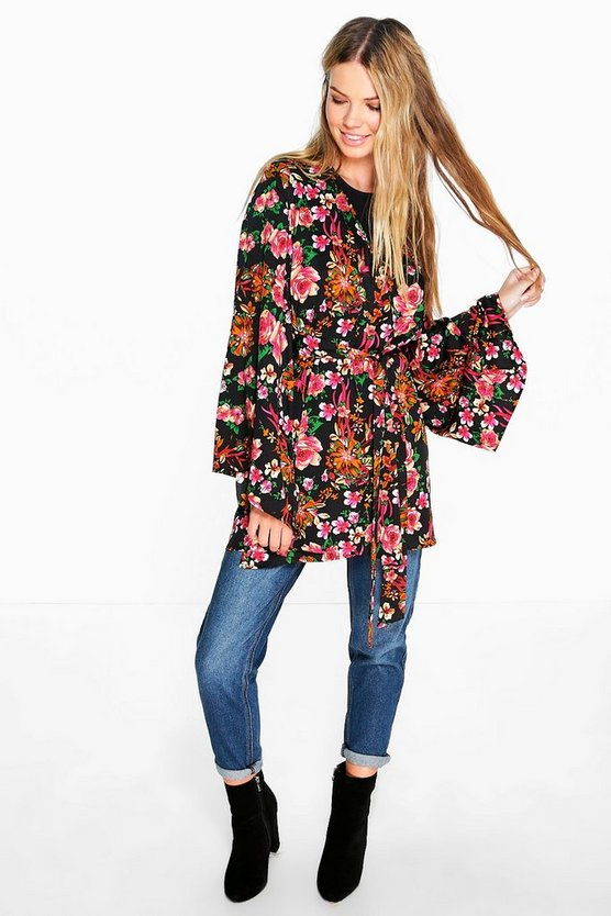 Amelia Dark Floral Wrap Front Woven Top