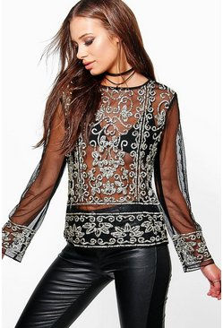 Leah Sequin Mesh Long Sleeve Top