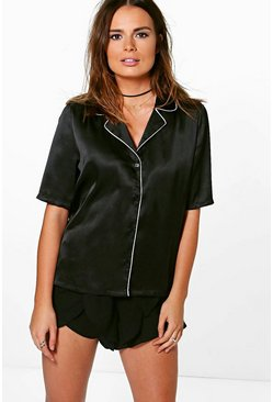 Annabelle Satin Piping Woven Shirt