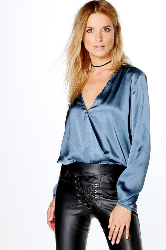 Layla Satin Plunge Neck Blouse