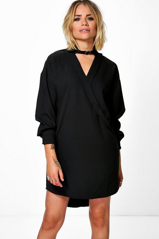 Laura Choker Wrap Shirt Dress