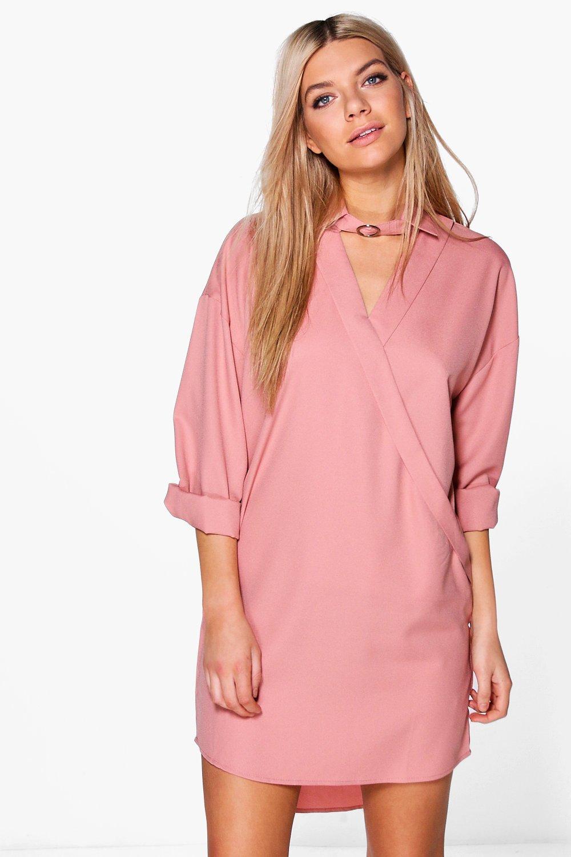 boohoo Choker Wrap Shirt Dress - nude